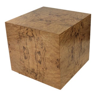 1970s Milo Baughman Burl Olive Wood Cube Side Table or Low Pedestal For Sale