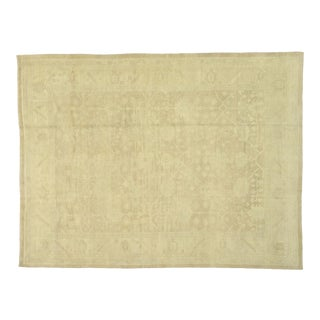 Contemporary Turkish Oushak Rug With Modern Transitional Style - 12'07 X 16'05 For Sale
