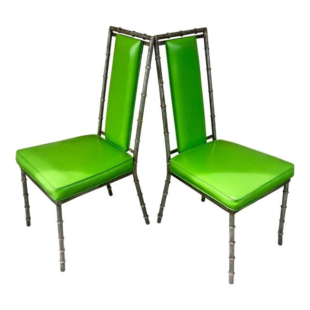 Faux Bamboo Green Metal Chairs - A Pair - Image 1 of 4