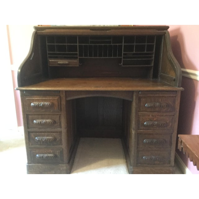 American Classical 19th Century American Classical RollTop Desk For Sale - Image 3 of 8
