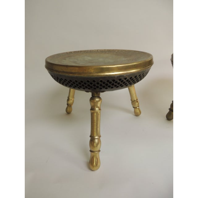 1970s Pair of Vintage Low Round Tripod Indian Low Stools or Tables For Sale - Image 5 of 6