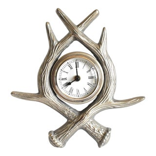Silver Antler Clock For Sale