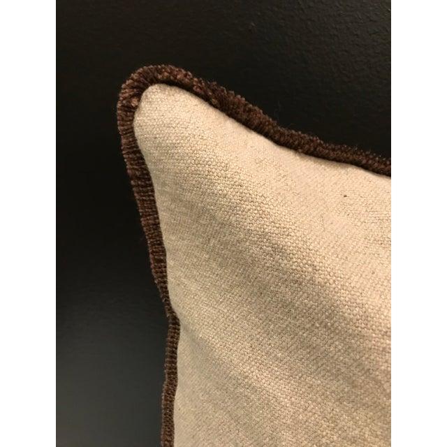 2010s Safari Linen & Cotton Applique Ostrich Pillow For Sale - Image 5 of 9