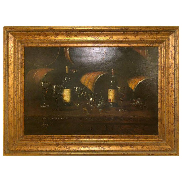 Still Life of Wine With Glasses Oil Painting on Canvas Signed Luzanquis For Sale