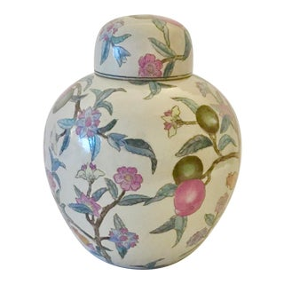 Vintage Chinese Ginger Jar With Plum Floral Motif For Sale