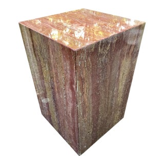 Mid Century Side Table Italian Red Marble Pedestal on Wheels For Sale