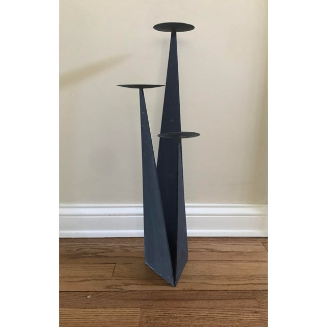 Black Paul Evans Style Brutalist Forged Iron Sculptural Geometric Floor Candle Pillar Holder For Sale - Image 8 of 8