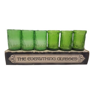 """6 Mid Century """"The Everything Glasses"""" in Green For Sale"""