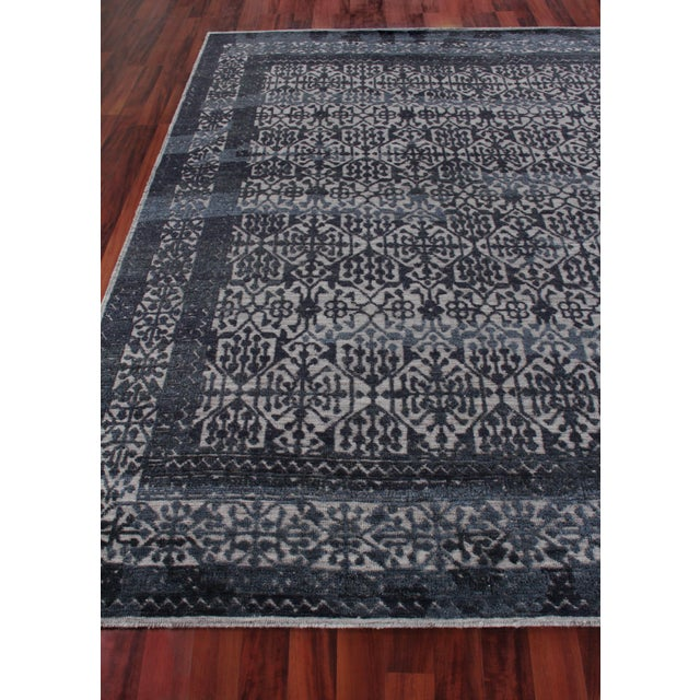 Buckingham Navy Blue Hand knotted Wool Area Rug - 6'x9' For Sale - Image 4 of 9