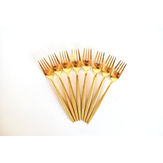 1960s 1960s Mid-Century Modern Gold Flatware Service for 8 - 50 Pieces Set For Sale - Image 5 of 11