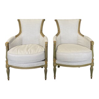 Early 19th Century Painted Neoclassical Armchair Bergeres -A Pair For Sale