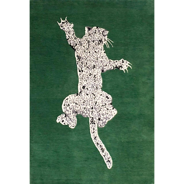 Green Green Gabeh Fine Leopard Hand Knotted Rug For Sale - Image 8 of 8