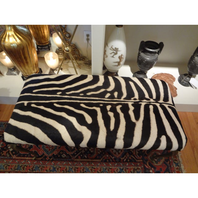 Italian Brass Bench Upholstered in Zebra Hide - Image 3 of 8