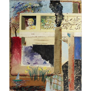 Surreal Mixed Media Painting by Artist Jacques Lamy For Sale