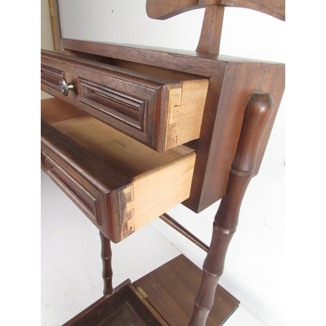 Vintage Walnut and Vinyl Valet Chair For Sale - Image 10 of 13