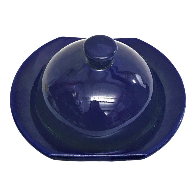 Hand Painted Violet Moroccan Ceramic Serving Dish For Sale