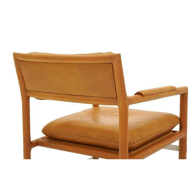 Metal Leather, Mahogany and Steel Armchair by Edward Wormley for Dunbar For Sale - Image 7 of 10