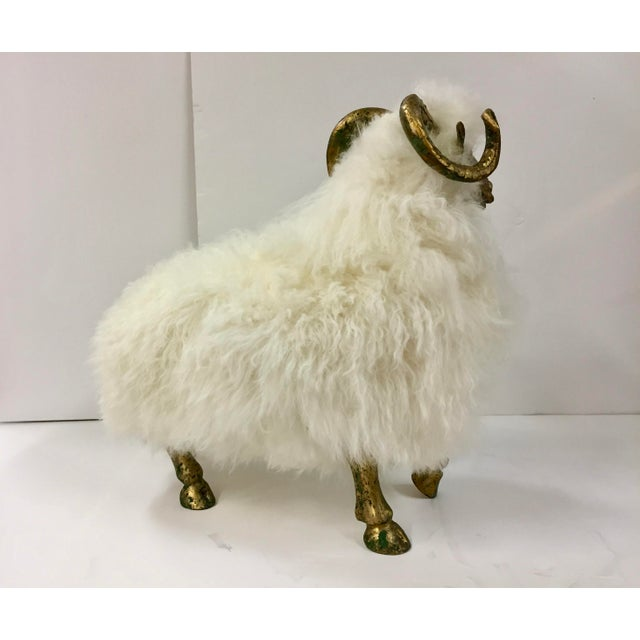 1990s 1990s Lalanne Style Solid Etched Bronze and Wool Ram Sculpture For Sale - Image 5 of 13