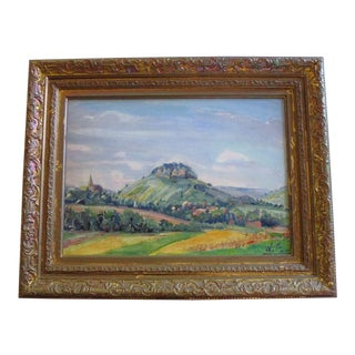 W.f Mid Century 1940's Expressionist Modernism Impressionism Masterful Landscape For Sale