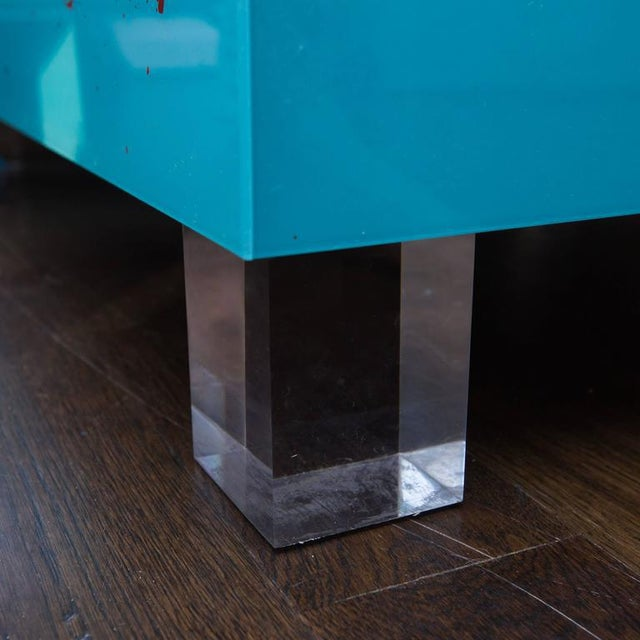 Reverse Painted Lucite Coffee Table For Sale - Image 5 of 5