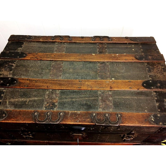 Antique Wood Steamer Trunk with Key - Image 5 of 10