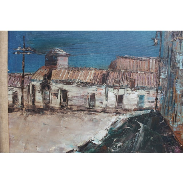 Expressionist Oil on Canvas Cityscape Painting For Sale - Image 4 of 9