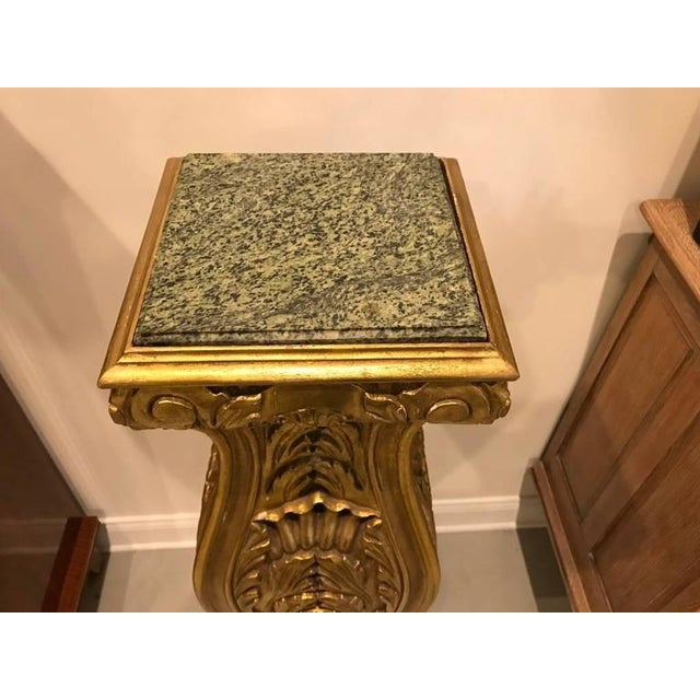 Gold Mid-Century Giltwood Pedestals with Marble Tops - A Pair For Sale - Image 8 of 8