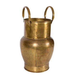Mid 20th Century Indoor Outdoor Brass Umbrella Stand For Sale