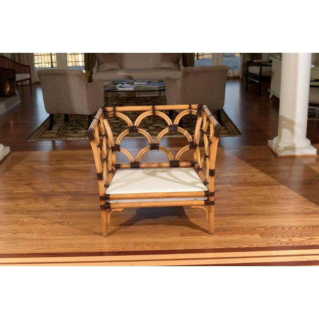 Amazing Pair of Scalloped Rattan Club Chairs by Peter Rocchia for Wicker Works For Sale In Atlanta - Image 6 of 11