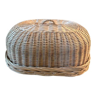 Vintage Woven Wicker Covered Serving Dish For Sale