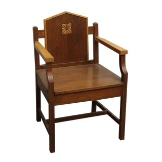 Vintage Mid Century Mission Style Wood Chair For Sale
