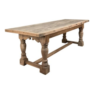 19th Century Antique Rustic Solid Stripped Oak Farm Table For Sale