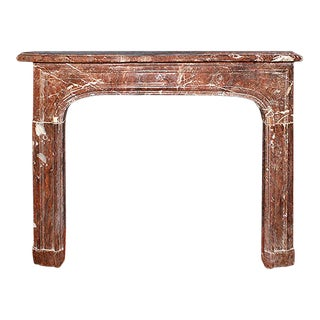 1870's French Provincial Style Deep Red Marble Paneled Fireplace Mantel For Sale