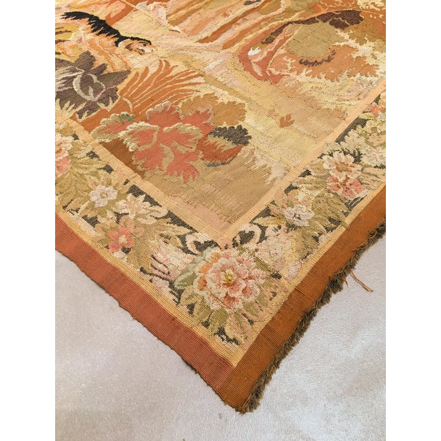 """Textile Antique Old World Hunting Tapestry, Circa 1900, 4'10"""" X 6'5"""" For Sale - Image 7 of 11"""