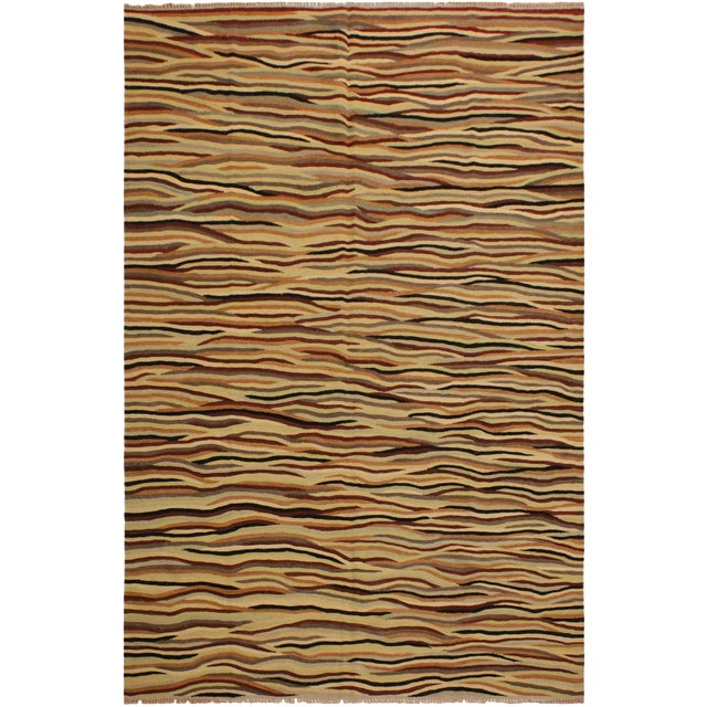Boho Chic Cinderel Beige/Red Hand-Woven Kilim Wool Rug -5'10 X 8'3 For Sale