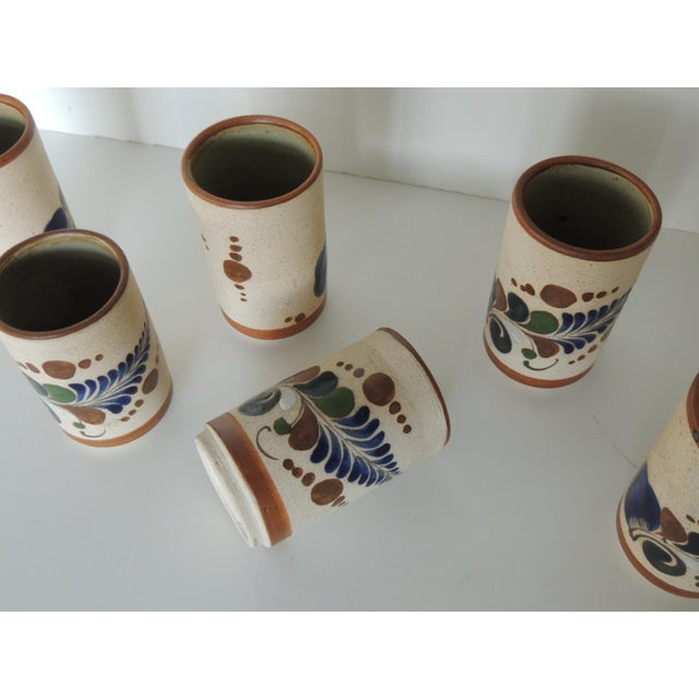 1980s Set of Six Mexican Tonala Drinking Glasses. For Sale - Image 5 of 7
