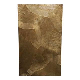 Modern Brushed Gold I Mixed Media on Canvas Abstract Painting For Sale