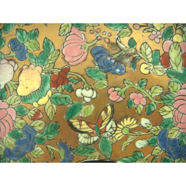 Chinese Rose Medallion Garden Seat, Gilt Top & Butterflies - Image 5 of 9