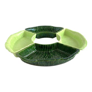Vintage Majolica Cabbage Relish Dipping Set by Princeton For Sale