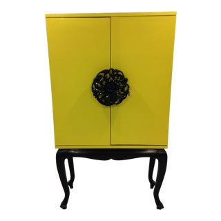 Contemporary Yellow Asian Lacquer Cabinet For Sale