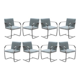 Brno Flat-Bar Chairs in Fog Mohair by Ludwig Mies Van Der Rohe for Knoll - Set of 8 For Sale