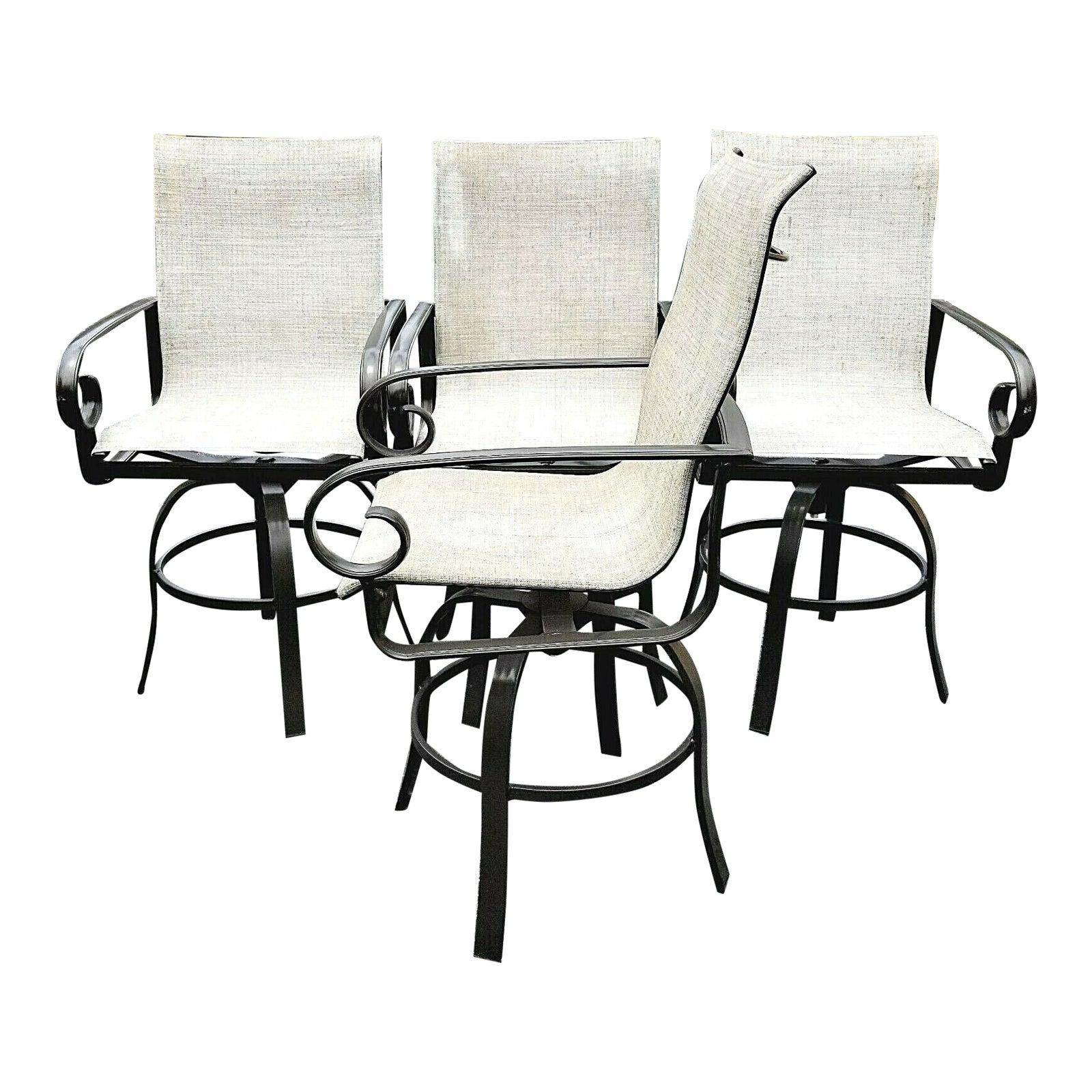 winston veneto outdoor sling cast aluminum side swivel bar stools set of 4