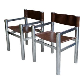 Mid Century Tubular Chrome & Faux Leather Directors Chairs - A Pair