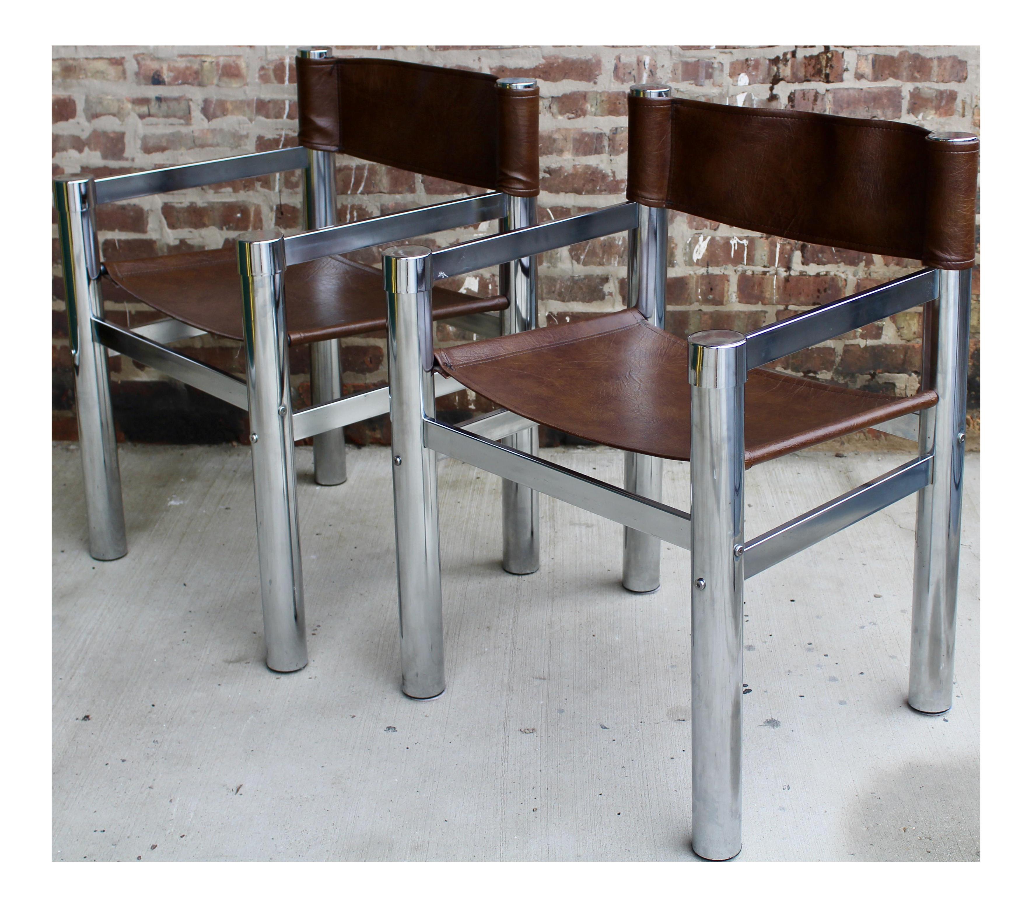 Mid Century Tubular Chrome U0026 Faux Leather Directors Chairs   A Pair
