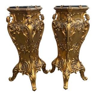 Italian Baroque Gold Columns/Pedestals.- a Pair For Sale