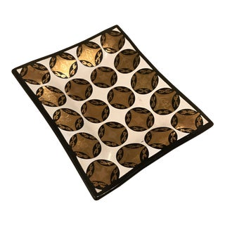 Mid-Century Smoked Glass Serving Tray