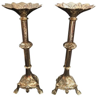 Pair of French Polished Brass Candlesticks or Prickets, 19th Century For Sale