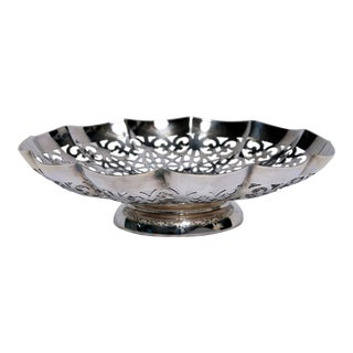 Retriculated Scallopped Silverplate Bowl For Sale