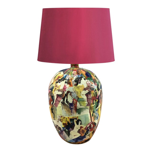 1970s Abstract Painted Nudes Collaged Lamp For Sale