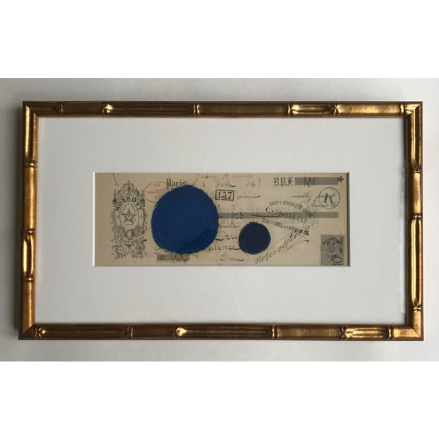 2020s Abstract Pastel on Vintage Paper French Bank Note #4, Framed For Sale - Image 5 of 5